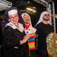 Sister Martini, Novice Judy and Postulant Poppy at Manchester Rubbermen Sister Bingo 2017