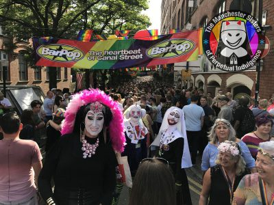 Sister-Roma-Sister-Enchante-and-Sister-Judy-parading-Canal-Street-at-Manchester-Pride-2017