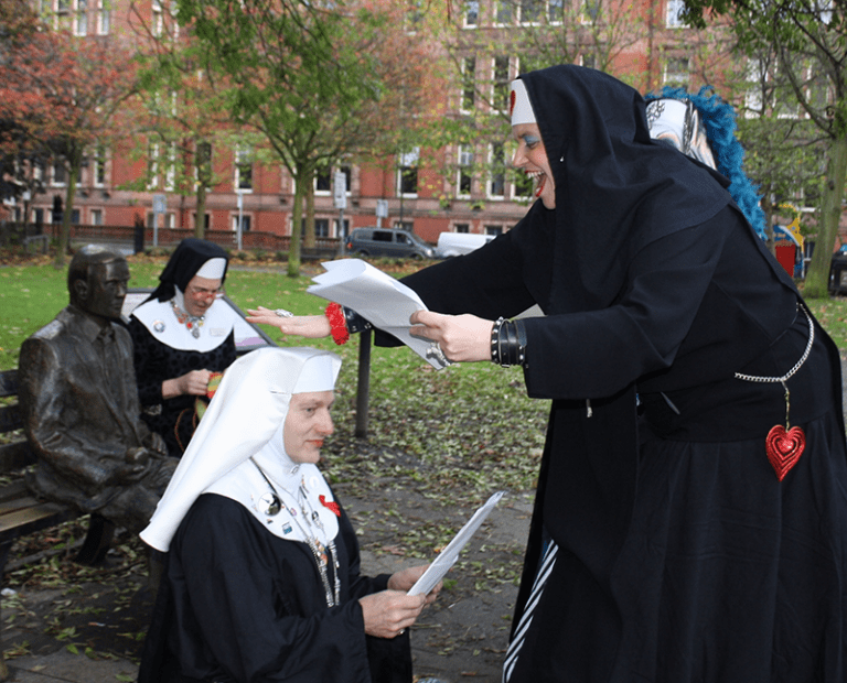Sister Polly giving the Profession Ceremony full whack