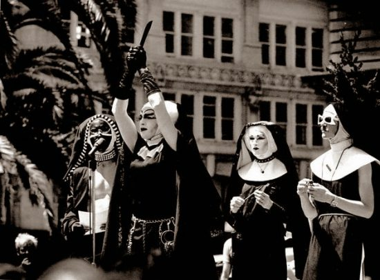 Sister Boom Boom and other members of the Sisters of Perpetual Indulgence hold an 'exorcism' in Union Square during the 1984 Democratic convention. Photo Chris Stewart, San Francisco Chronicle